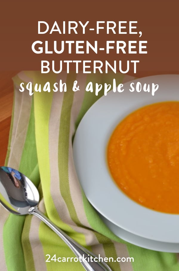 The BEST Dairy-Free Butternut Squash & Apple Soup Recipe!  Use freshly roasted butternut squash for a delicious homemade soup! #Paleo Gluten-free #grain-free #dairy-free #soup #Paleosoup #fallrecipes #butternutsquash Paleosides  via 24carrotkitchen.com