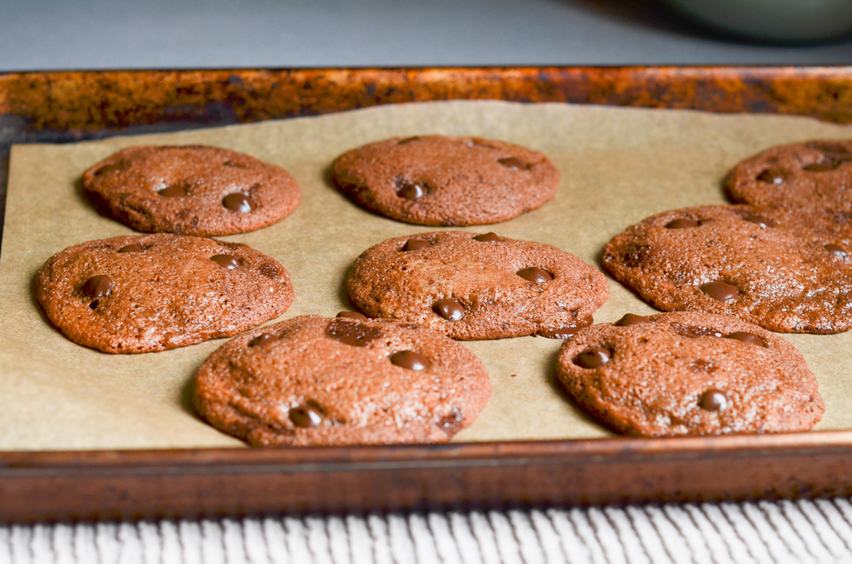 Chocolate peppermint cookies on baking sheet out of oven.