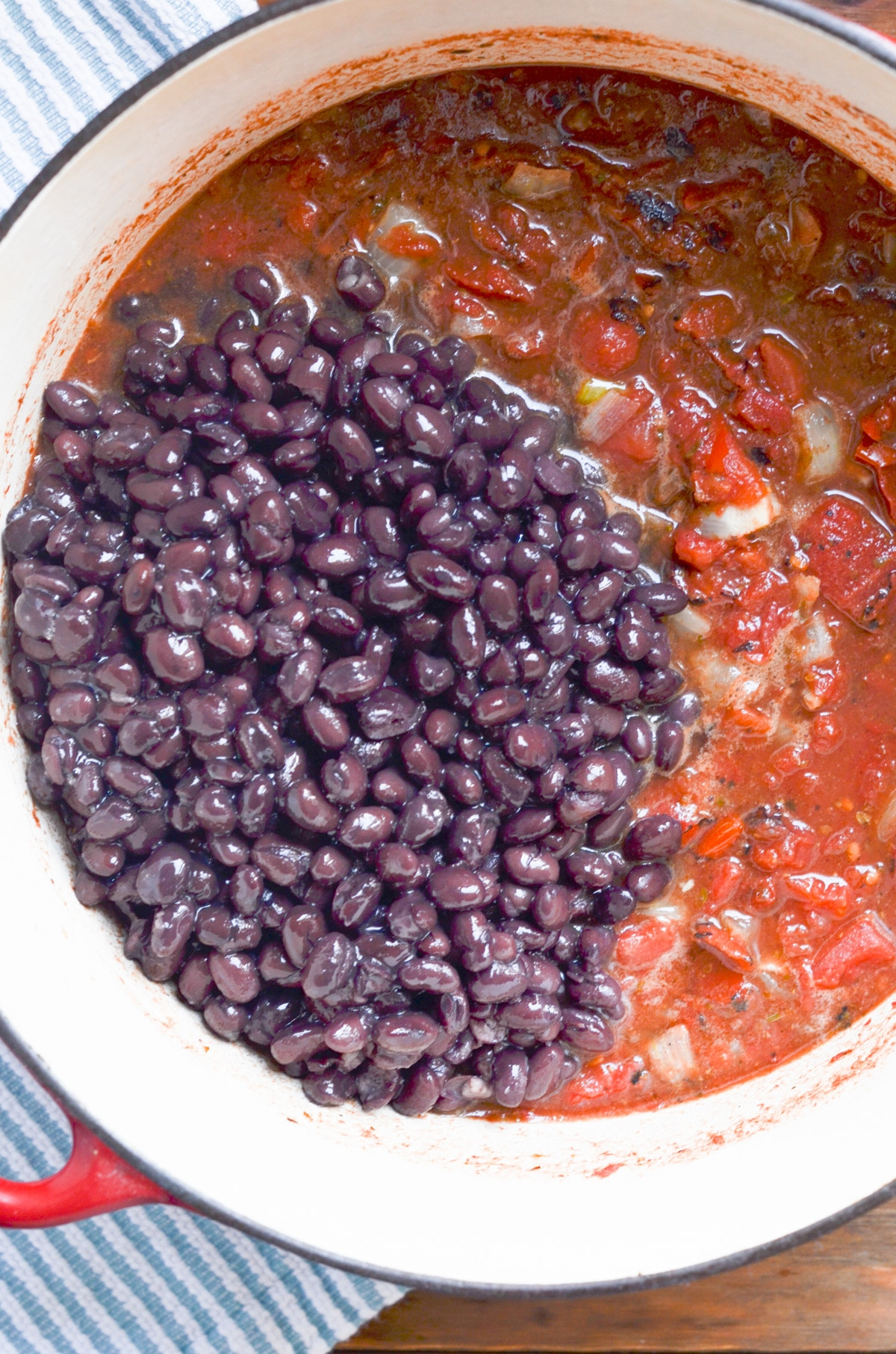 black beans added to stock pot.