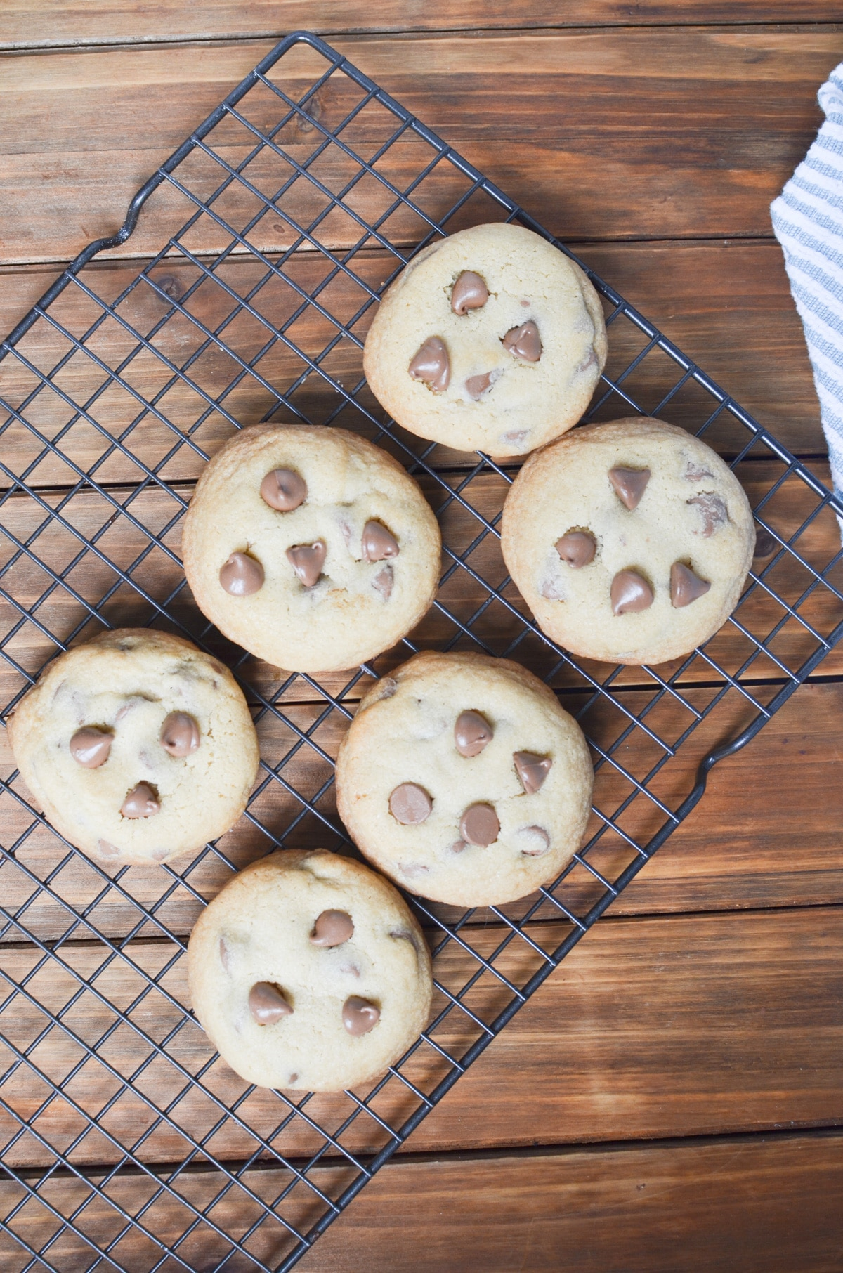 chocolate chip cookies on cooling rack.