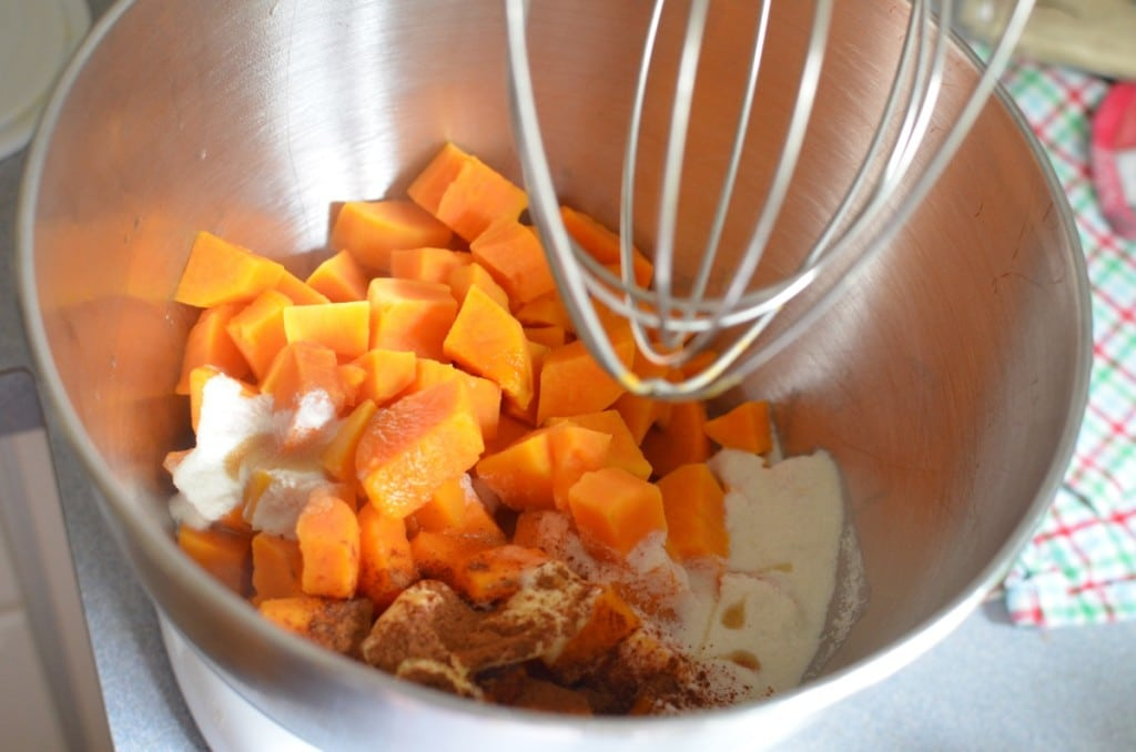 Cooked Sweet Potatoes, cinnamon, ghee, cashew cream, maple syrup in electric mixer.