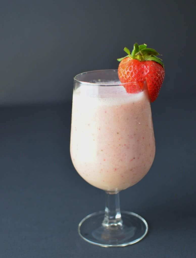 Stawberry Coconut Milk Smoothie in A Glass- 24 Carrot Kitchen