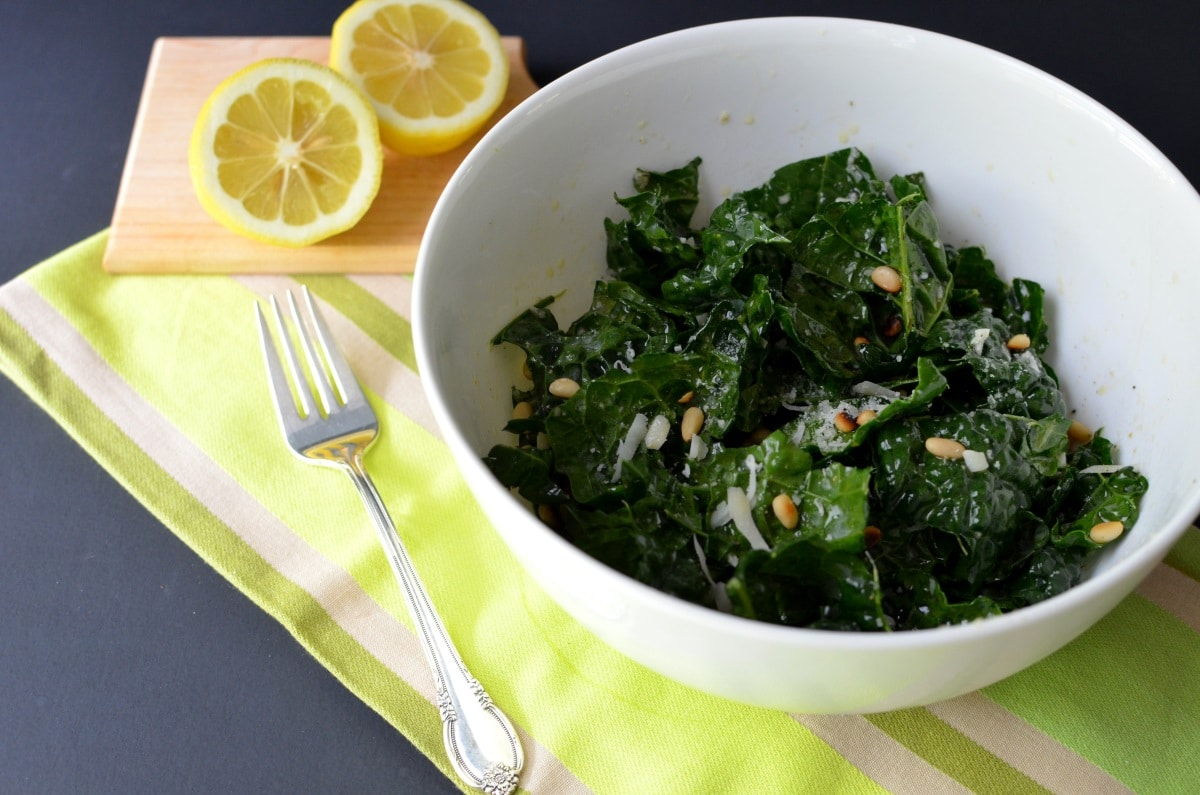 Raw Kale Salad With Balsamic, Pine Nuts, And Parmesan ...