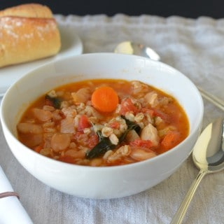 Kale, Bean and Farro Soup