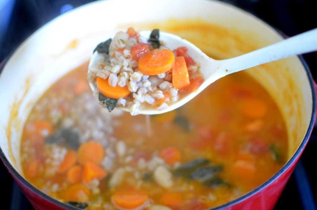 Kale, Beach and Farro Soup