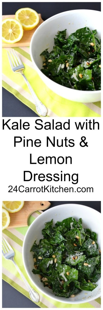 Kale Salad with Pine Nuts and Lemon Dressing - 24 Carrot Kitchen