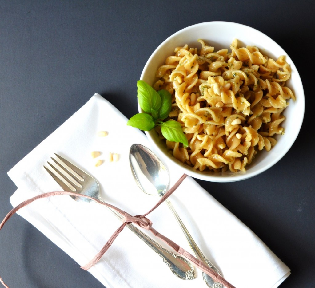 Diary-Free Pesto in a bowl with pasta - 24 Carrot Kitchen