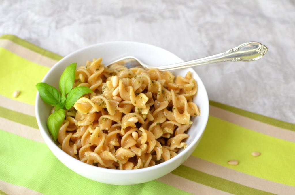 Dairy-free Pesto in a bowl with pasta - 24 Carrot Kitchen