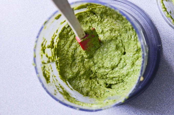 Dairy-Free Pesto in small food processor.
