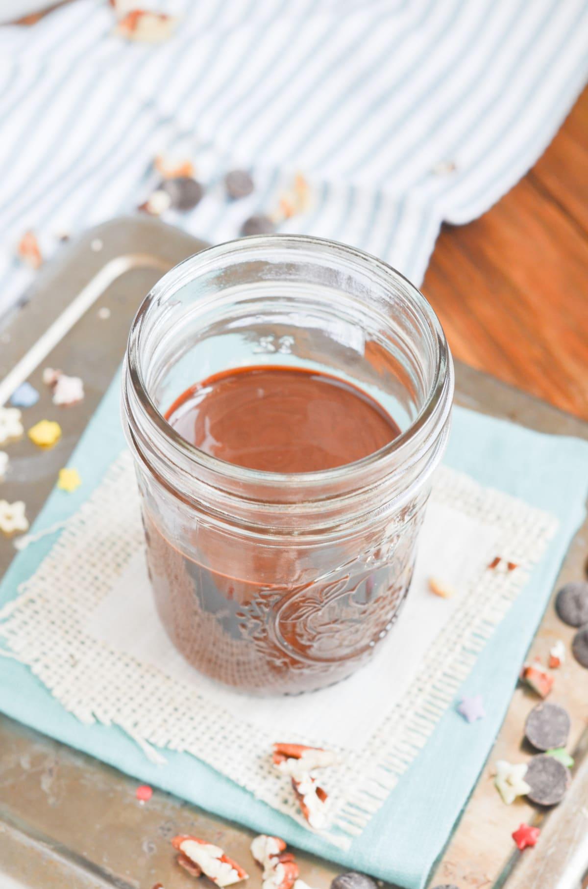 chocolate shell in glass jar.