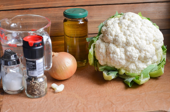 ingredients for vegan cauliflower soup.