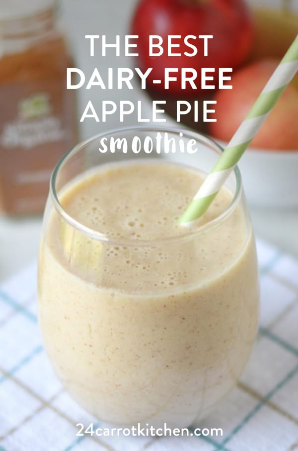 Dairy-Free Apple Pie Smoothie that is grain-free, gluten-free and dairy-free!  Super simple, whips up in just minutes!  #Paleo #smoothies #dairy-free #vegan #gluten-free #grain-free #smoothierecipes #fallrecipes