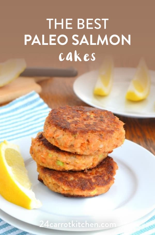 Three Paleo salmon cakes on a plate.