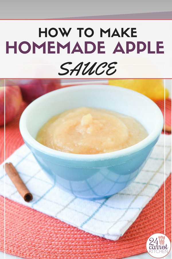 Make this homemade (unsweetened) applesauce in less than 20 minutes!  Use fresh apples from apple picking adventures or apples available year round. #Paleo #vegan #grain-free #gluten-free #dairy-free #applesauce