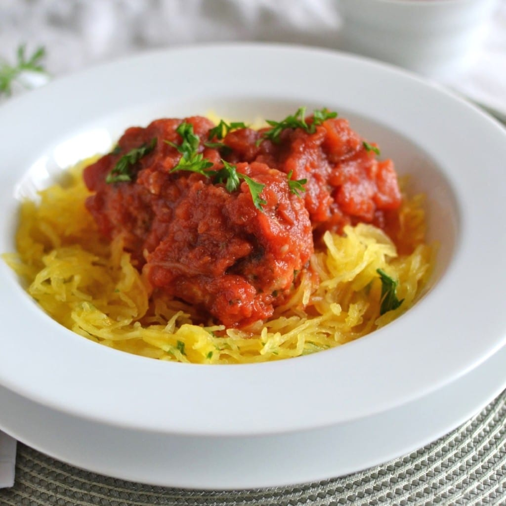 Spaghetti Squash with Turkey Meatballs - 24 Carrot Ktichen