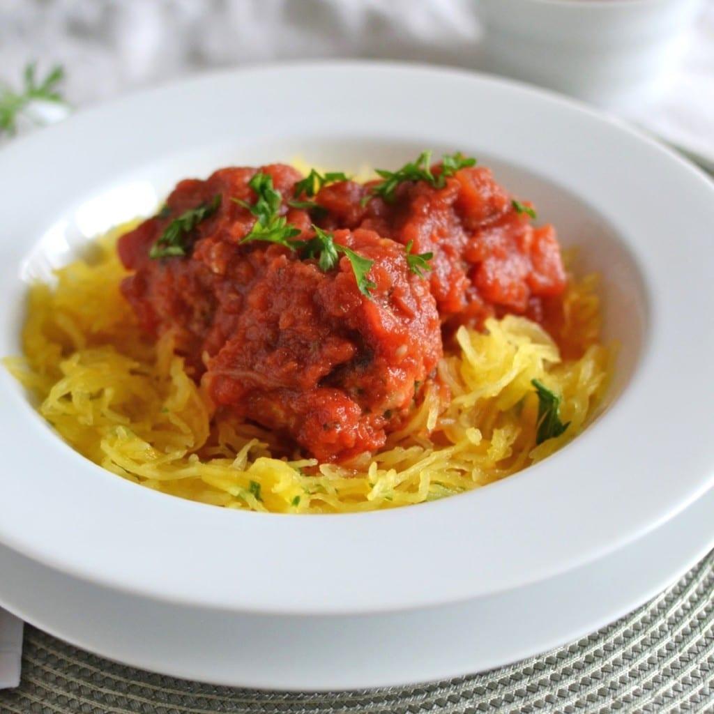 Spaghetti Squash with Turkey Meatballs - 24 Carrot Ktichen