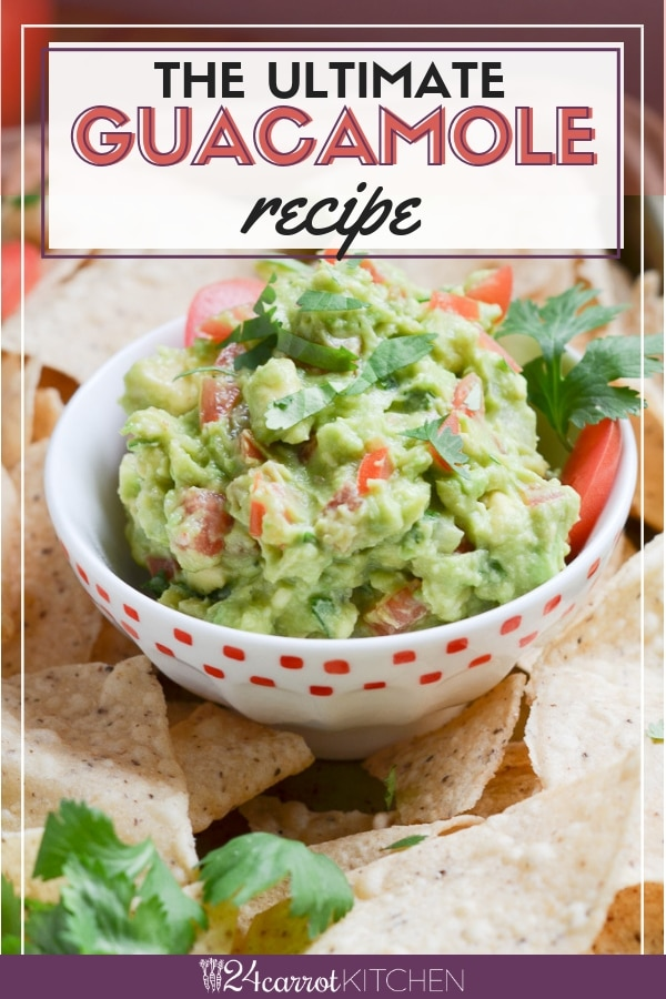 guacamole in a bowl with tortilla chips.