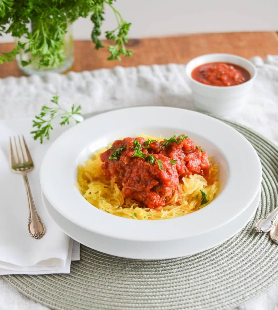Paleo Spaghetti Squash and Turkey Meatballs - 24 Carrot Kitchen