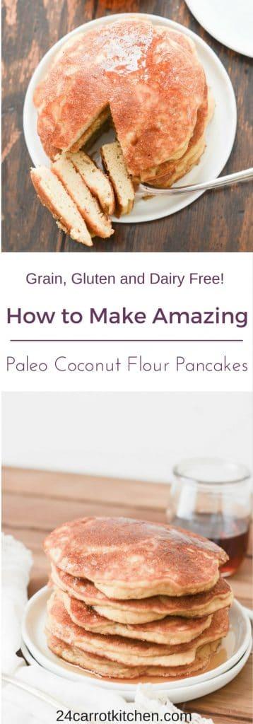 Paleo Coconut Flour Pancakes - PIN for Pinterest - 24 Carrot Kitchen