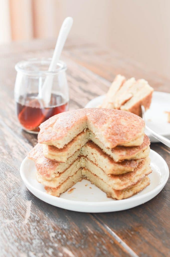 Paleo Coconut Flour Pancakes on a plate.