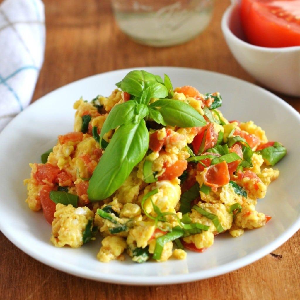 Tomato Basil Egg Scramble - 24 Carrot Kitchen