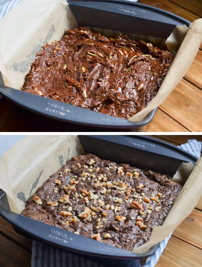 two photos showing zucchini batter in parchment lined baking pan and baked zucchini brownies in pan.