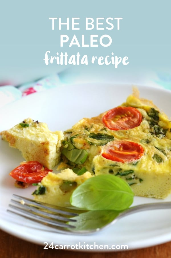 Make this amazing Paleo Frittata for breakfast, brunch, lunch or dinner!  Toss in your favorite veggies!  #Paleo #dairy-free #gluten-free #grain-free #breakfast #brunch #lowcarb