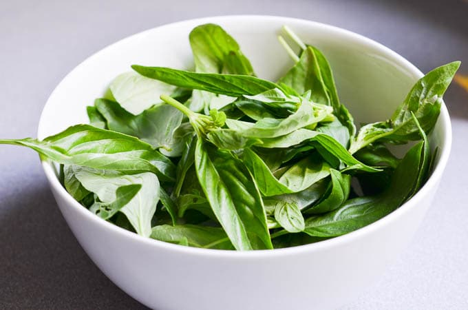 Bowl of fresh basil.