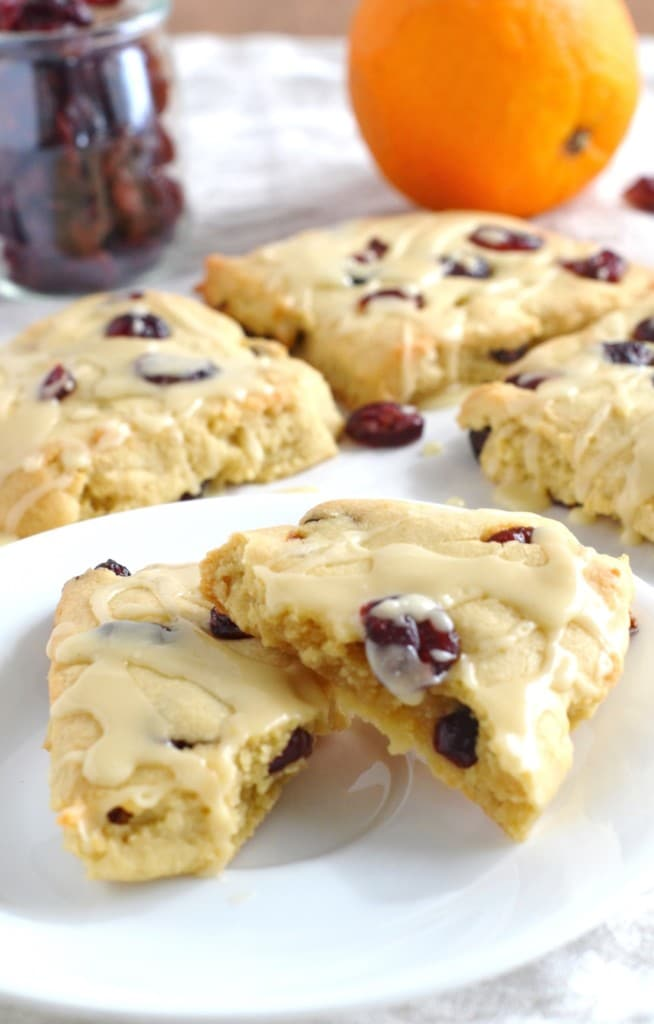 Cranberry Orange Scones on a plate - 24 Carrot Kitchen