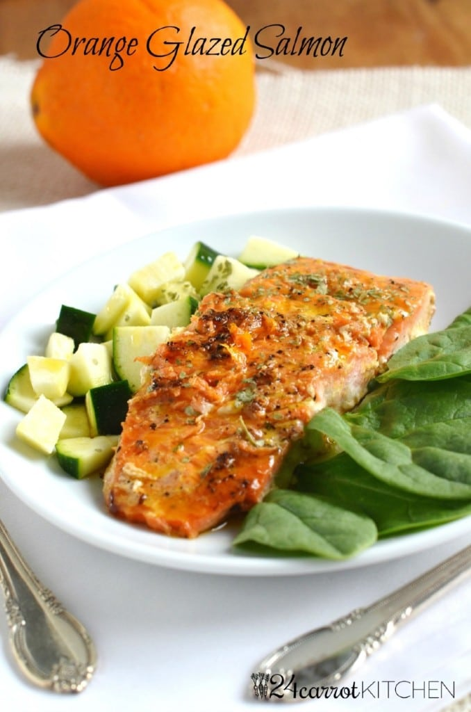 Orange Glazed Salmon - 24 Carrot Kitchen - easy, delicious salmon recipe loaded with healthy omega 3 fatty acids!