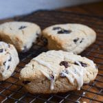 gluten-free cinnamon raisin scones with glaze.
