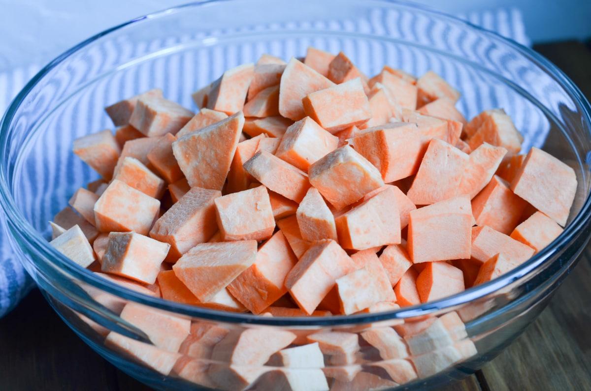 bowl of chopped sweet potatoes.
