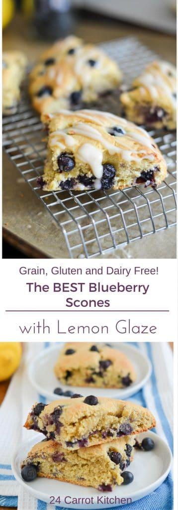 Gluten Free Blueberry Scones PIN - 24 Carrot Kitchen