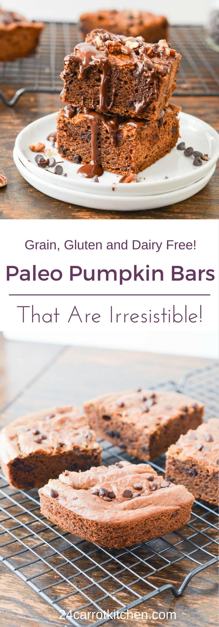 Paleo Pumpkin Bars PIN - 24 Carrot Kitchen - 24 Carrot Kitchen