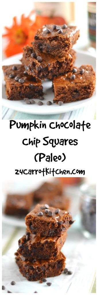 Pumpkin Chocolate Chip Squares - Paleo, Grain, Gluten and Dairy Free 24 Carrot Kitchen