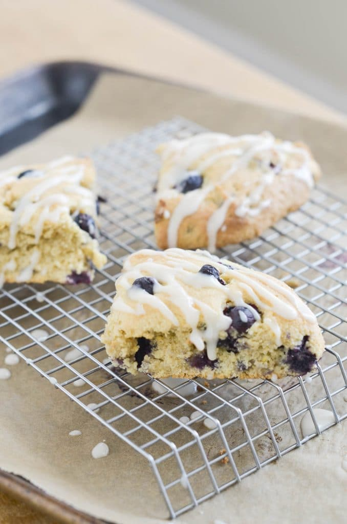 Gluten Free Blueberry Scones with Lemon Glaze - 24 Carrot Kitchen