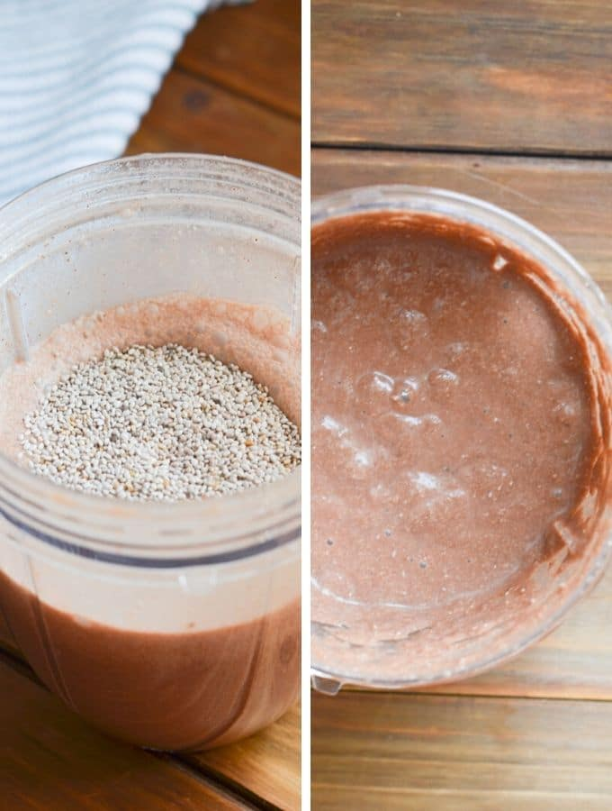 chocolate chia pudding in blender cup.