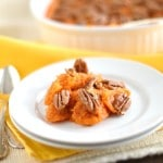 Sweet Potato Casserole with Candied Pecan Topping - 24 Carrot Kitchen