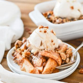 Paleo Apple Crisp with ice cream - 24 Carrot Kitchen