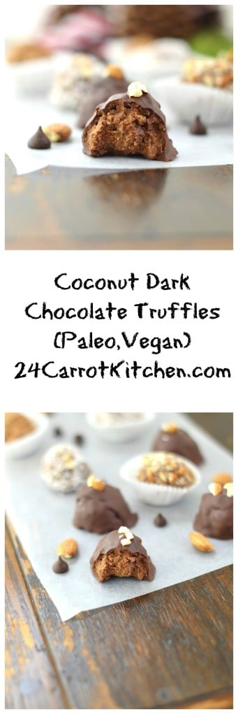 Paleo, Vegan, Coconut, Dark Chocolate Truffles - 24 Carrot Kitchen