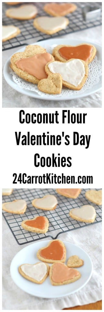 Coconut Flour Valentine's Day Heart Cookies - 24 Carrot Kitchen
