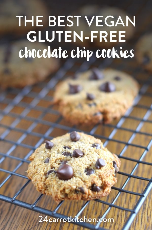 Make these amazing delicious vegan chocolate chip cookies! #Paleo #vegan #dairy-free #gluten-free #grain-free #cookies #Paleodesserts #vegandesserts #chocolatechipcookies