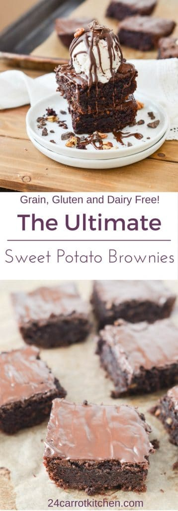 Sweet Potato Brownies PIN for Pinterest - 24 Carrot Kitchen