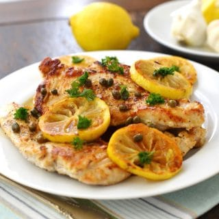 Grain Free Chicken Piccata on a plate- 24 Carrot Kitchen