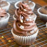 Paleo Chocolate Cupcakes with chocolate frosting and sprinkles.
