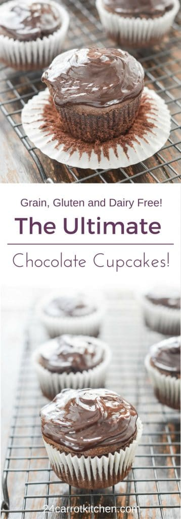 Gluten Free Chocolate Cupcakes PIN - 24 Carrot Kitchen