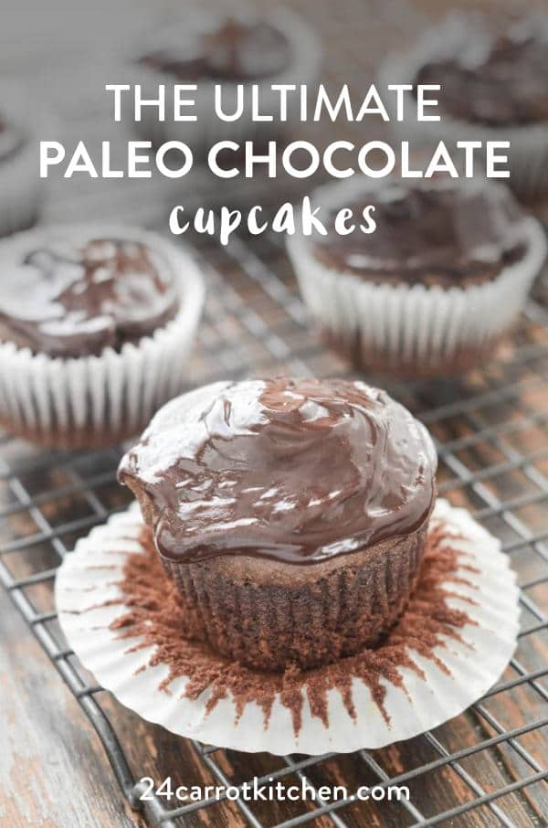 Paleo chocolate cupcakes on counter.