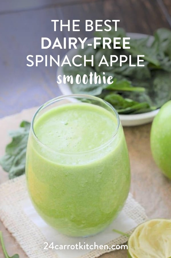 Spinach Apple Smoothie with just a few ingredients is light and refreshing!  Dairy-free, vegan and Paleo!  #Paleo #vegan #smoothies #dairy-free #gluten-free and grain-free