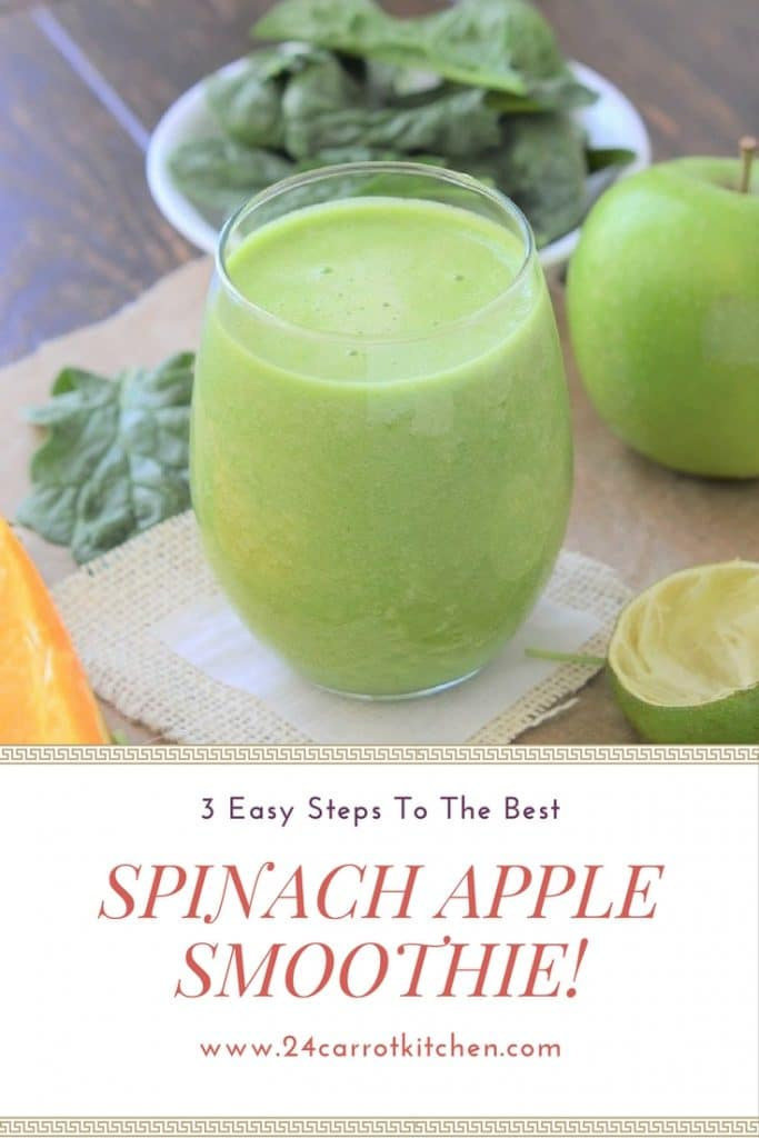 Spinach Apple Smoothie Pin for Pinterest - 24 Carrot Kitchen