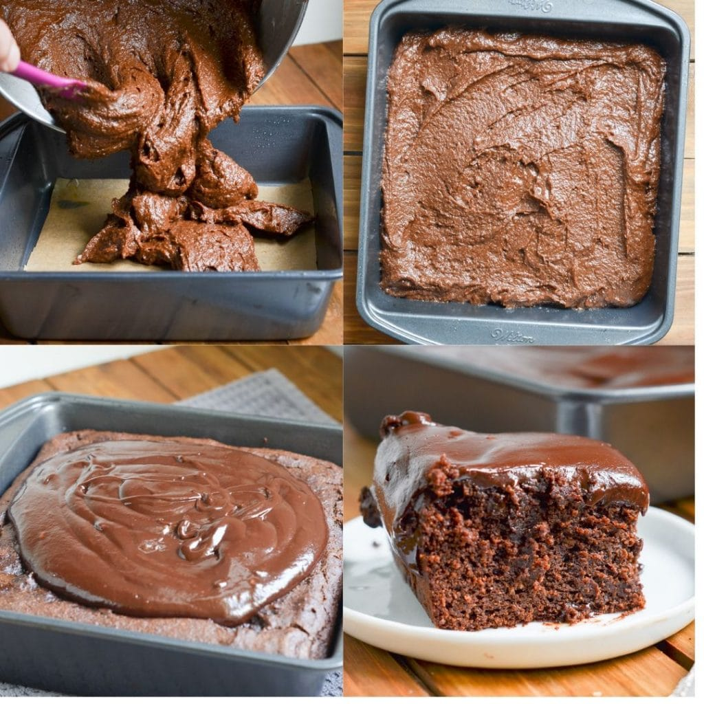 Paleo Chocolate Cake in a square pan.